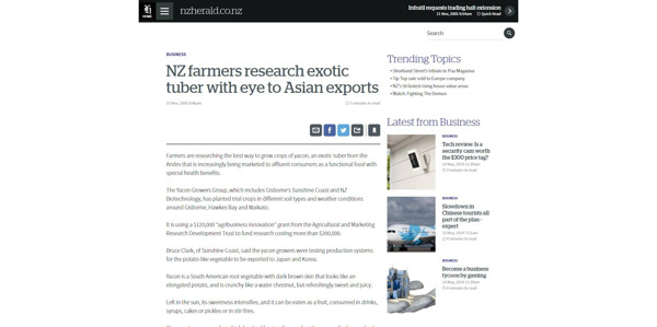 NZ Farmers Research Exotic Tuber with Eye to Asian Exports