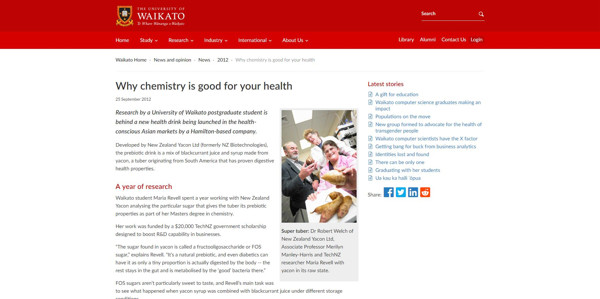 Why Chemistry is Good for You - The University of Waikato
