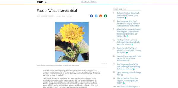 Yacon What a Sweet Deal - Stuff South Island Times